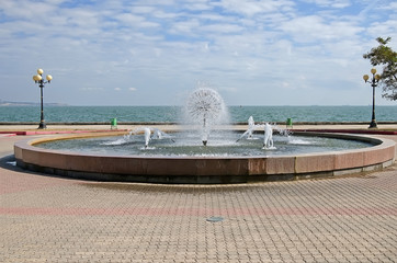 Fountain on the waterfront in Kerch