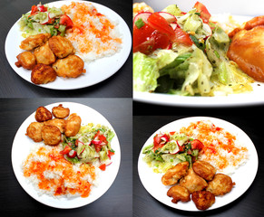 chicken on a plate with rice and salad, set of 4 pictures