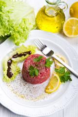 Close up of beef tartar