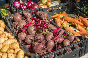 Beetroots at farmer's market in Pula, Croatia