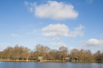 Serpentine lake river in Hyde Park, London