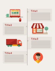Infographic, online shopping, eshop, flat design