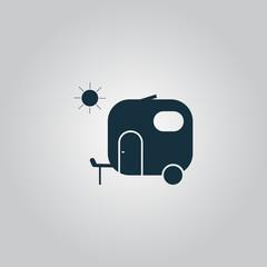 Travel trailer flat icon