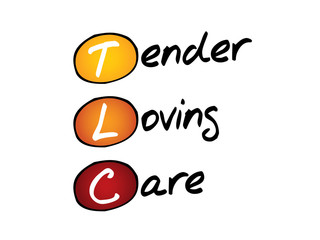 Tender Loving Care (TLC), business concept acronym