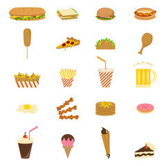 Junk food, icons, vector illustration set collection