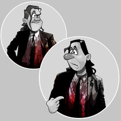 cartoon man in a suit covered with blood