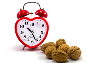 red clock and nuts