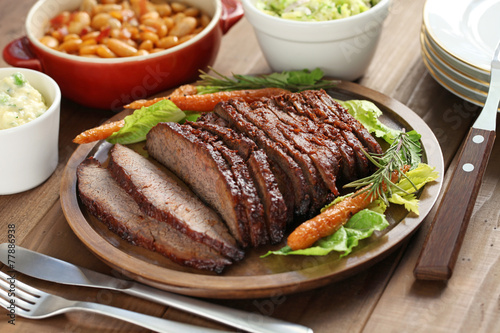 Papiers peints Table preparee barbecue beef brisket, texas style