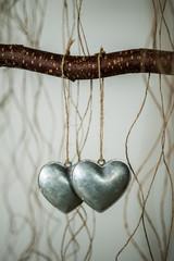 hearts metal, background blur