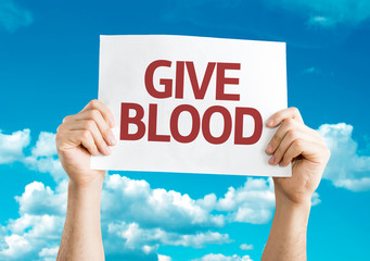 Give Blood card with sky background