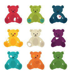Broken cute teddy bears isolated