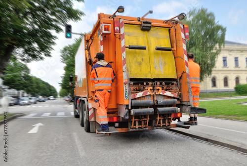 Leinwanddruck Bild Müllabfuhr
