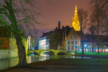 Night landscape at Lake Minnewater in Bruges, Belgium