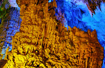 Amazing multicolor Reed Flute cave in Guilin, Guangxi, China