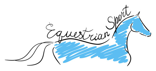 Equestrian sport. The line horse on white. Vector