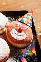 Sugared Donuts with Clown Face and Carnival Props
