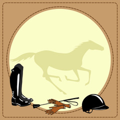 Horse riding gear. Boots, whip, helmet, gloves. Vector