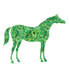 Watercolor arabian horse. Vector