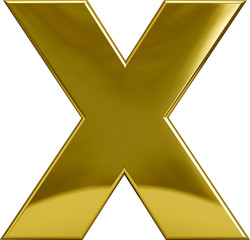 Gold Metal Letter X