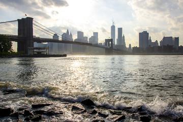 New York City skyline. Manhattan and Brooklyn Bridge view.