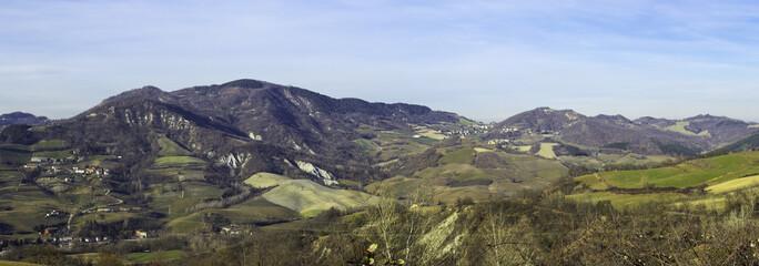 Oltrepo Pavese, winter panorama. Color image