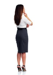 Business woman looking copy space