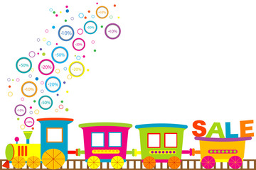 Background for discount sale with cartoon train and discount pri