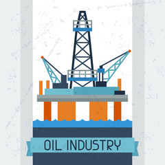 Oil platform in sea background.