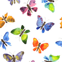 Seamless pattern of watercolor butterflies.Texture,  vector