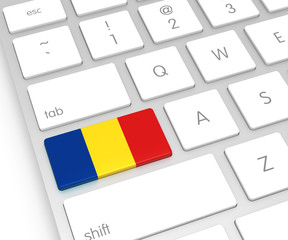Romania Flag on Computer Key