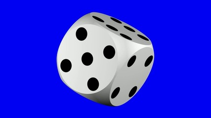 Seamlessly rotating dice over blue screen