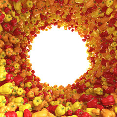 Circular tunnel of yellow, red and orange peppers