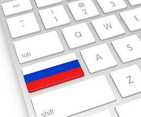 Russian Flag on Computer Key