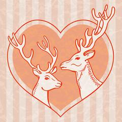 Pair of deer in heart frame