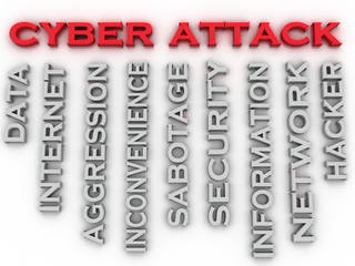 3d image Cyber attack issues concept word cloud background