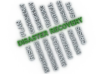 3d image Disaster recovery  issues concept word cloud background