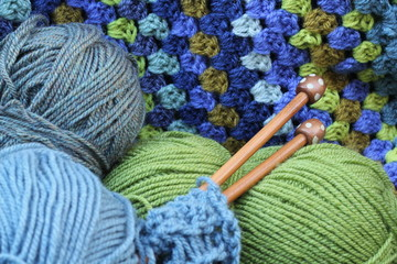 Blue and Green Yarn Crafts