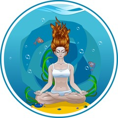 Yoga girl meditates under water
