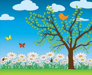 Nature spring scene vector