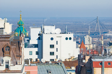 The view from the heights to Kiev, the dome of St. Andrew's Chur