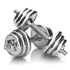 Kit of chromed sports dumbbells