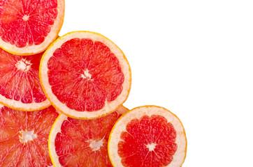 Fresh grapefruit rings set isolated on white background.