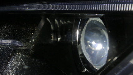 Close up of Audi A5 headlamps