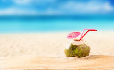 summer coconut cocktail on the beach