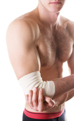 elastic bandage on a hand of the man with ideal skin.