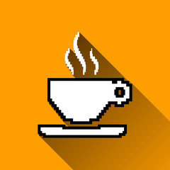 Pixel Coffee Cup Icon, Long Shadows, Vector Illustration