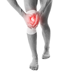 pain in a knee (leg,joint). the sore point is tied up.