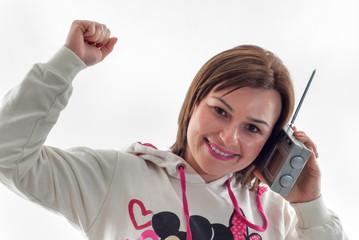 women listening radio