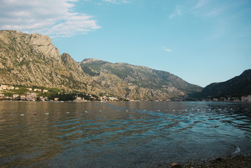 landscape with lake and mountains, Boko Kotor, Montenegro