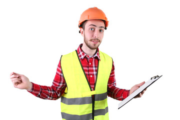 Male construction worker. Skilled Worker Engineer. Isolated